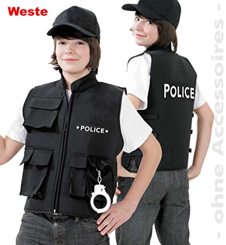 KarnevalsTeufel Kinderweste Police Sicherheitsweste Polizei Spiel-Weste Polizeikostüm Polizei-Agent Schutzweste