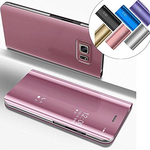 LEMAXELERS Galaxy S6 Edge Plus Hülle Luxus Spiegel Mirror Makeup Plating PU Flip Tasche Ledertasche Schutzhülle Handyhülle mit Ständer-Funktion Hülle Etui für Galaxy S6 Edge Plus,Mirror PU:Rose Gold