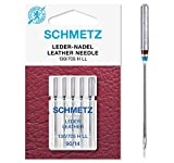 SCHMETZ Nähmaschinennadeln 5 Leder-Nadeln | 130/705 H LL | Nadeldicke: 90/14 | geeignet für alle gängige Haushalts-Nähmaschinen