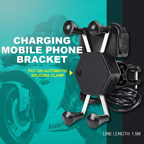 globalqi Universal Motorrad Handy Halterung Wasserdicht mit USB Ladegerät 360 ° Drehung für ATV Roller Moped Chopper Cruiser - Atv Akku-halterung