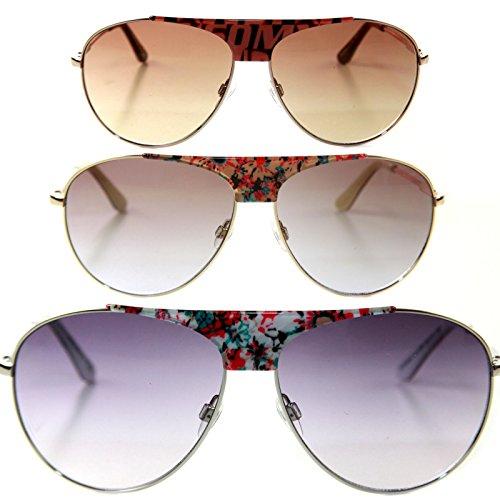 Miss Sixty Designer Sonnenbrille, Bronze mit braunen Gläsern für Damen Pilotenbrille Aviator tropfenform