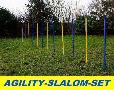 AGILITY-ÜBUNGS-SLALOM-SET BLAU/GELB FLEXIBLE,RUNDE STANGEN