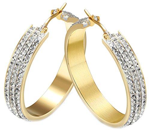 AMDXD Schmuck Damen Creolen Ohrringe Vergoldet Gold Kreolen mit Weiß Strass - 2Pcs