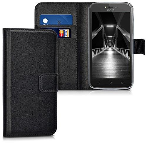 kwmobile Hülle für Motorola Moto C Plus - Wallet Case Handy Schutzhülle Kunstleder - Handycover Klapphülle mit Kartenfach und Ständer Schwarz