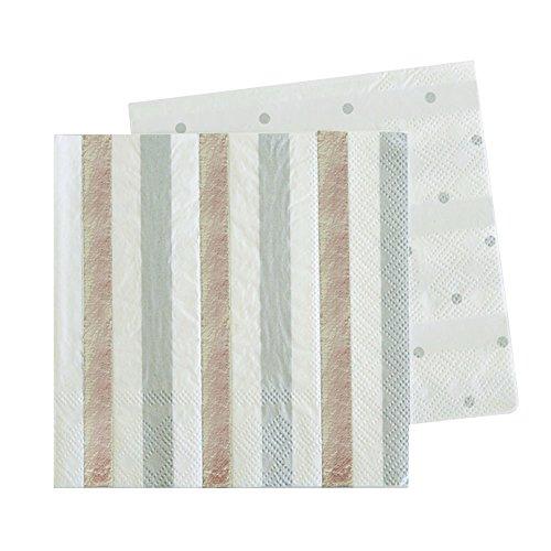 20 Schicke Papier-Servietten in Weiß mit Silber Glänzenden und Grauen Streifen (Für Astronaut Halloween-kostüm Erwachsene)