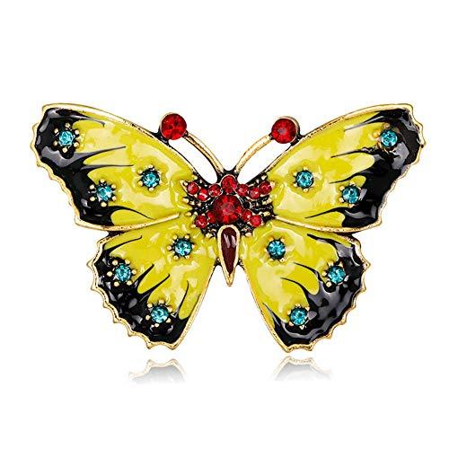 Ogquaton Frauen brosche Mode kristall Strass Schmetterling brosche Geburtstag Valentinstag Hochzeit schmuck gelb hohe qualität