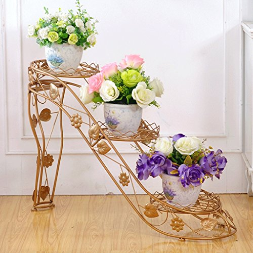 Bambus High Heel Heels (Iron Art Flower Frame Mehrgeschossige Blumentöpfe Rack Indoor und Outdoor High Heels Kreative Blumen Rack (4 Farben) ( Farbe : Gold ))