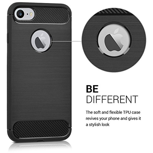 kwmobile Hülle für Apple iPhone 7 / 8 - TPU Silikon Backcover Case Handy Schutzhülle - Cover Rot matt Brushed Carbon Anthrazit
