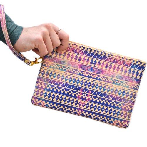 """Künstler entwarf Handtasche / Geldbeutel / Pouch / Handgelenkstaschen von Create & Case """"Substitution"""" stilvoll, einzigartig, bunt vegan Ledertasche"""