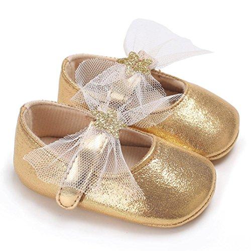 Xshuai Neugeborenes Baby Mädchen Elegantes Bowknot Schuhe Weiche Sole Krippe Kleinkind Anti-Rutsch Nette Sterne (0-6 Monate, Gold) Säuglings-high-top-schuhe Mädchen