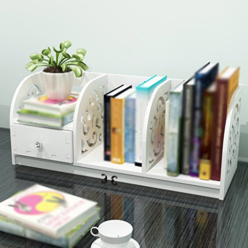 Librería Libro Stand 60 (largo) * 22.5 (ancho) * 24 (alto) Cm Escritorio Escritorio Escritorio Escritorio Almacenamiento Rack Blanco