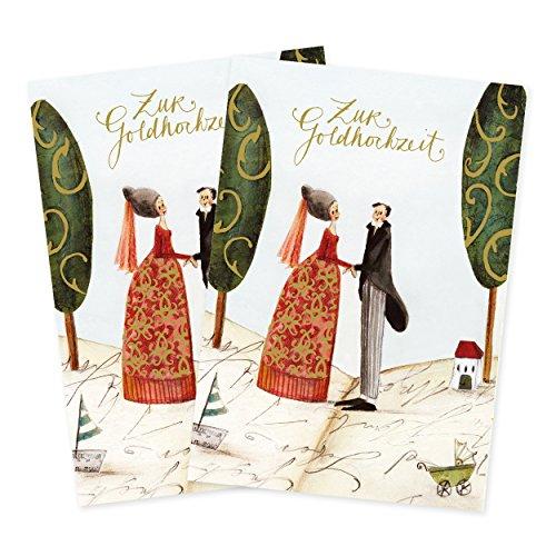 2er Set Glückwunschkarten zur goldenen Hochzeit von Silke Leffler