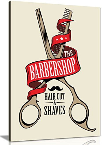 Barber Shop Decor Schere Leinwand Kunstdruck Bild, A4 31x20cm (12x8in) (12x8 Wandbild)