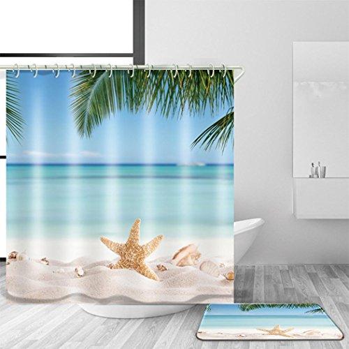 Bad Zubehör Duschvorhang und Bad Mat Anzug 3D Digitaldruck Ozean Stil Polyester Mildewproof Wasserdicht Anti-Bakterien Minimalismus Bad Dekor Multi Größen , @1 , 170 x 170 cm