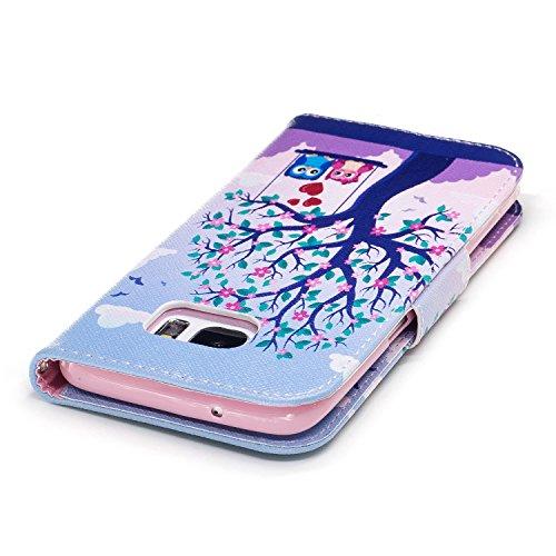 Samsung Galaxy S7 Edge (5.5 pouce) Coque , PU Cuir Étui Protection Wallet Housse la Haute Qualité Pochette Anti-rayures Couverture Bumper Magnétique Antichoc Case Anfire Cover pour Samsung Galaxy G935 arbre et balançoire