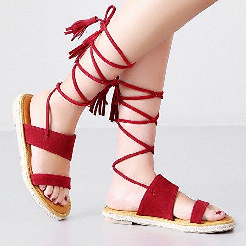 TAOFFEN Damen Gladiator Lace Quasten Fesselriemen Slingback Flach Sommer Sandalen Rot