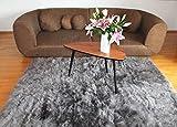 Naturasan Design Öko Schaffell-Teppich 150 x 200, Hochflor, Langflor, Shaggy, Flokati, Lounge Fellteppich Lammfellteppich (Dunkelgrau)
