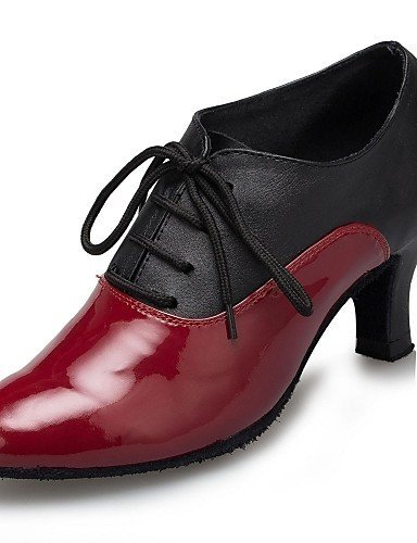 ShangYi Chaussures de danse ( Noir / Rouge ) - Non Personnalisables - Talon Cubain - Cuir / Cuir Verni - Latine