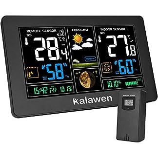 Estación Meteorológica Inalámbrica con Sensor para Exterior Interior 9-IN-1 Alerta y Temperatura Humedad Barómetro Alarma Fase Lunar y Carga USB para La Oficina en Casa