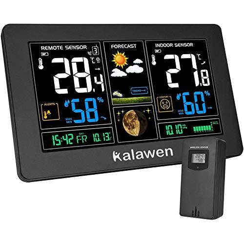 Estación Meteorológica Inalámbrica con Sensor para Exterior Interior 9-IN-1 Alerta y Temperatura...