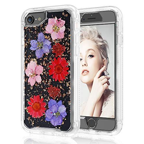 Schutzhülle für iPhone 7, 8, 6, 6S, 4,7, 2-in-1, handgefertigt, mit glitzerndem Blumendesign, Schlankes Design, stoßfest, robust, Rutschfest, für Mädchen und Frauen, Rot/Pink - Clips Halter Bildschirm