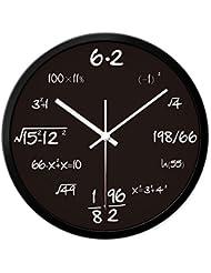 Cuando 14 pulgadas creativa salón reloj de pared fórmula matemática moderna minimalista mesa circular Zhong shiying relojes de silencio colgantes de moda personalizada