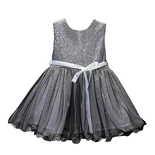 Kind Mädchen niedlichen ärmellosen grauen Kleid Kleinkind Tutu Sommer Sequins Kleider (Grauen Kleinkind Anzug)