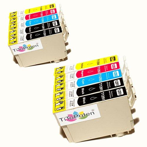 Preisvergleich Produktbild *TITOPATEN* 10x Epson Workforce WF 7515 kompatible XL Druckerpatrone ersetzt Typ T1291 - 1294 - 4xSchwarz-2xCyan-2xMagenta-2xGelb - Patrone MIT CHIP !!!