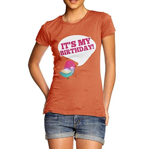 Damen It's My Birthday T-Shirt Orange