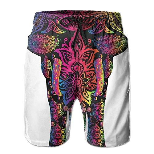 Coloridos Elefantes Aztecas Bañadores Pantalones Cortos de Playa Pantalones de baño Hombres...