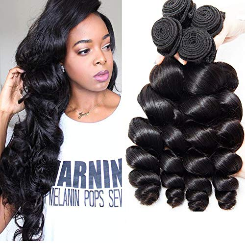 Musi 8A Cheveux Bresilien Tissage Loose Wave Tissage Bresilien Boucle Meche Bresilienne Lot 3 Human Hair Black Naturelle 300g 12 14 16 Inch