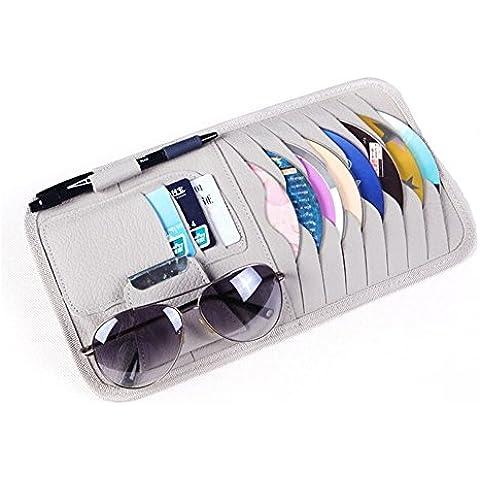 ceely (TM) multifunzione 8dischi CD DVD Occhiali carte sotre Borsa Porta Cellulare per Auto Veicolo Camion Parasole Organizer