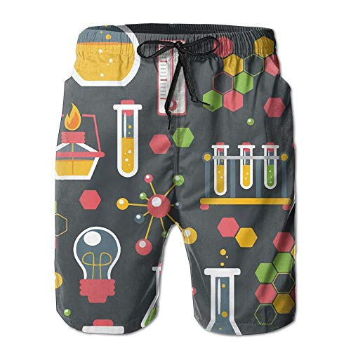 Beachsite Funny Chemistry Science Pattern Men's/Boys Casual Quick-Drying Bath Suits Elastic Waist Beach Pants with Pockets X-Large (Science-display-board)