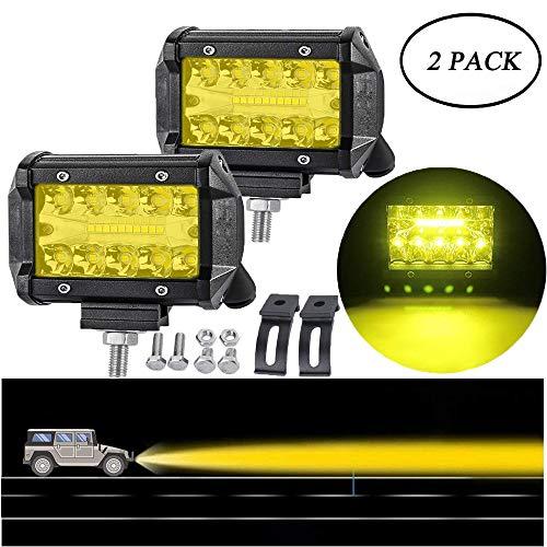 4 Pollici Barra Luminosa a Led Barra Luminosa a Tre File 20 Perle Miste Luce Gialla 2PCS Luce da Lavoro Fuoristrada Lampade Antinebbia a LED da 36W LED Per i camion ATV Marine-Impermeabile IP67