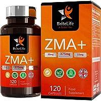 ZMA+ (Suplemento de Zinc, Magnesio y Vitamina B6) - 125 mg por porción de Britelife  PARA SOPORTE INMUNO, HORMONAL Y ATLÉTICO   TESTOSTERONA SUPLEMENTO NATURAL   120 capsulas de gel