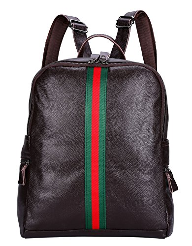 VIDENG POLO Leder Frau Rucksack Neu Damen Beiläufige Tasche für die Schule Reisen Einkaufen Hochschule (Braun-BG2) (Jansport Laptop 17 Rucksack)