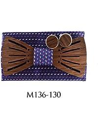 ZHENZHIA Pajarita De Madera Conjunto de Moda de Corbatas Conjunto de Cuadrados de Bolsillo de Gemelos de Boda