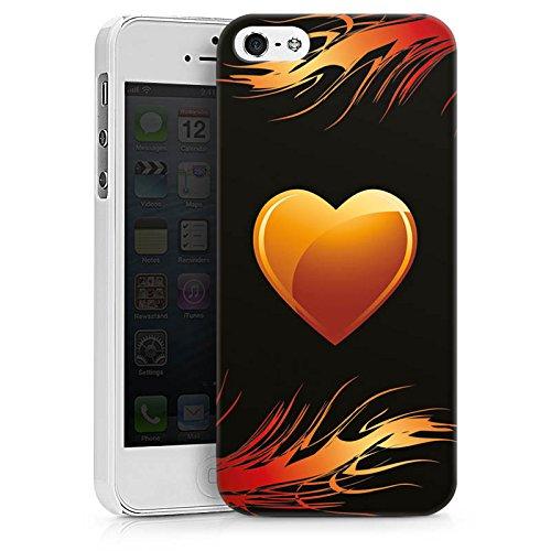 Apple iPhone X Silikon Hülle Case Schutzhülle Herz Flammen Liebe Hard Case weiß