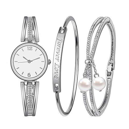 Godagoda Damen Geschenkset Armbanduhr Quartzuhr Analog mit Batterie mit Strass Armband Armreif Set