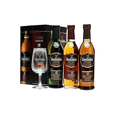 Glenfiddich Explorer Single Malt Scotch Whisky Gift Set with Glass (3 x 20cl Bottles)