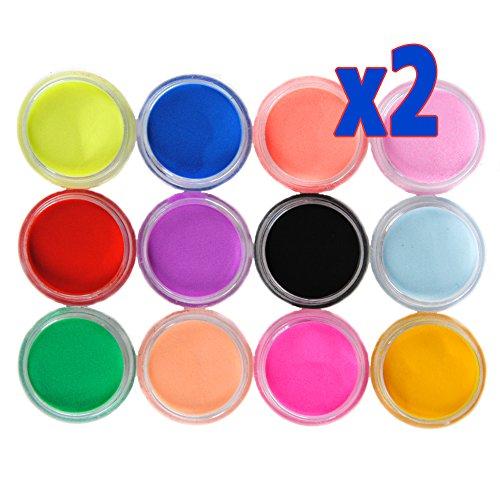 Mode Galerie 2 Sets 12 Couleur Acrylique Poudre Poussière Liquide Nail Art Kit