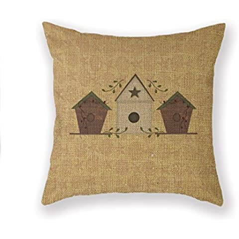AMountletstore Birdhouse Wildlife Nature Primitives Cotton Linen Decorative Throw Pillow Case 18X18inch
