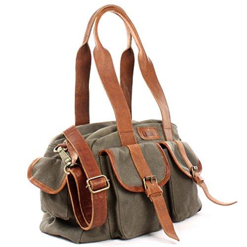 ed7c20127ede0 LECONI Henkeltasche Frauen Schultertasche Damentasche Vintage-Look Canvas + Leder  Damen Retro Freizeit Mode Handtasche ...