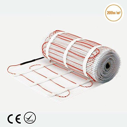 Fliesen-heizungs-matte (3m² premium qualität 200w/m² fußbodenheizung matte dual-core elektrische kabel, größe unter fliesen heizung boden selbstklebende matte)