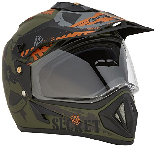 Vega Off Road Secret Full Face Helmet (Dull Black and Green, M)