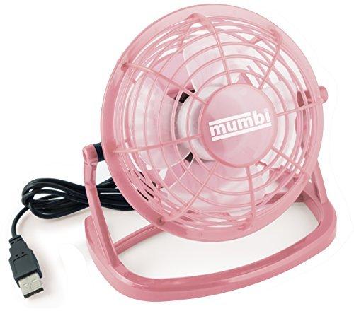 mumbi USB Ventilator - Mini Fan für den Schreibtisch mit An / Aus-Schalter, rosa