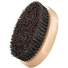 Plemo Cepillo de Jabalí para Barbas y Bigote, Peine de Pelo Facial para Estilizar y Mantener el Bigote, Forma Óvalo