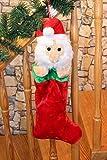 Kamaca, morbida calza XXL in tessuto con un peluche nascosto al suo interno, circa 50cm di lunghezza,con chiusura in velcro e nastro rosso per appendere la calza, Peluche, Babbo Natale, 50 cm
