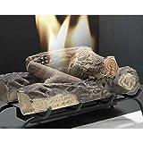 Feuerschale mit Basis aus Metall für Bioethanol, mit Briketts Holzoptik, Stones