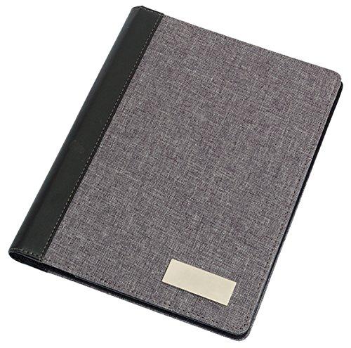 Portfolio Din A4, Dokumentenmappe nutzbar als Schreibmappe Linen inkl Schreibblock Grau 30,5 x 23,5 x 1,2 cm A4 Format (Reise-portfolio)